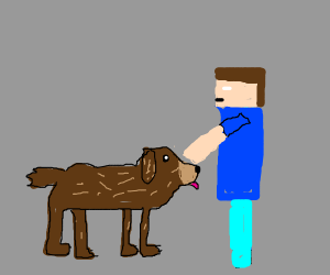A realistic dog and guy on Minecraft
