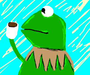 kermit with coffe