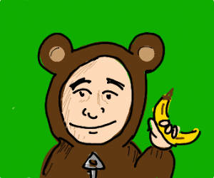 Man in a monkey costume, hold a banana