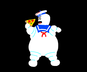 marshmallow man eating pizza