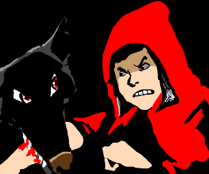 Red Riding Hood fighting the wolf