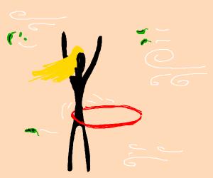 Girl hula hooping on a windy day