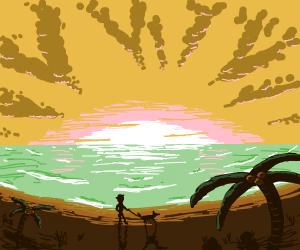 Walking a dog during an island sunrise