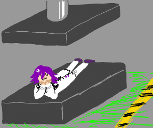 Kokichi laying on the hydraulic press