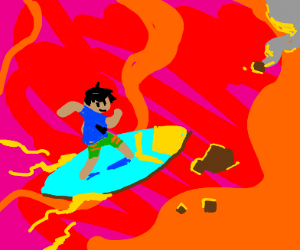 surfing on lava