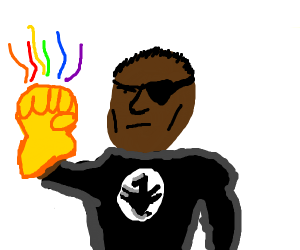 nick fury with the infinity gauntlet