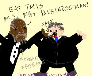 Morgan Freeman Feeds Fat Businessman Salt
