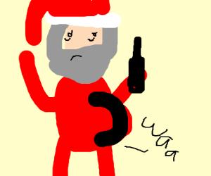 Pregnant Santa self-aborts