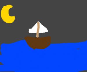 Boat Adrift At Night
