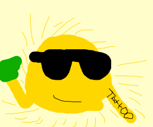 cool sun with are sleeve tattoo holding money