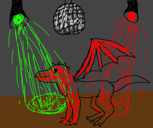 Red homosexual dragon horse at a disco
