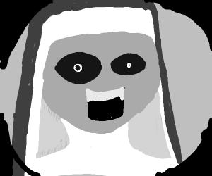 Nun looking through a peephole.