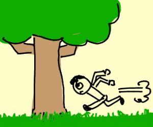 Headbutting a tree