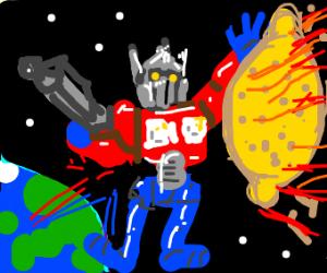 Transformer saving Earth from a giant lemon