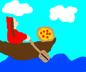 Little Red riding hood rowing a pizza