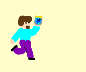 steve minecraft holding can of heavy berry