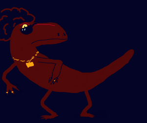 Swag raptor with an afro hairstyle