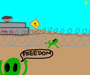 Alien escapes Area 51