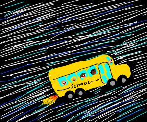 A schoolbus going over the speed limit