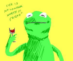 depressed kermit holds a wine glass