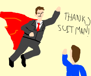 saved by suit man once again?