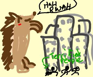 giant porcupine terrorizing town