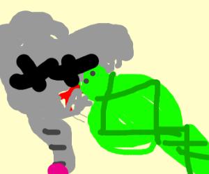 Snake eats an elephant