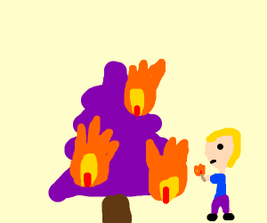 Burning purple xmas tree