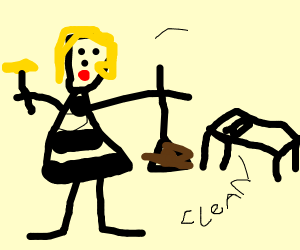 a girl cleaning a room in a picture