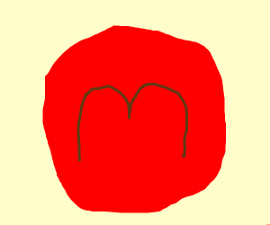 """brown """"M"""" red background"""