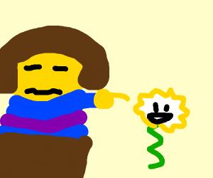 Frisk is scared of Flowey (Undertale)