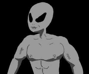 grey alien with lips and nips