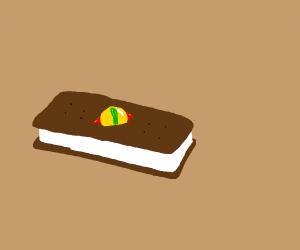 Ice cream sandwich with an evil eye