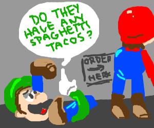 Broken luigi asks mario about spagetti tacos