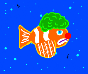 a fish dressed up like a clown