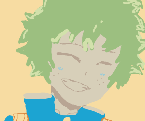 Happy green haired anime guy
