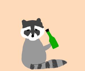 Raccoon holding a green bottle
