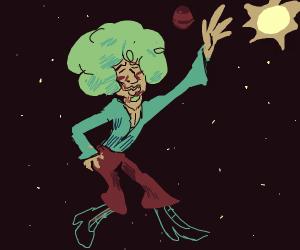 Man Dancing in space