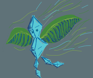 crystalline person with feather wings