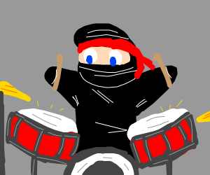 ninja plays the drums