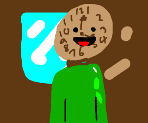 humanoid clock with green shirt