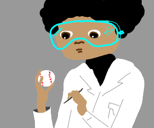scientists with big goggles study baseball
