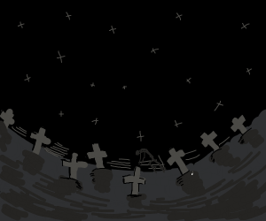 Cemetery is spooky at night