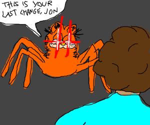 Spider Garfield and aracnaphobic Jon