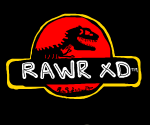 "Jurassic part logo but it says ""Rawr XD"""