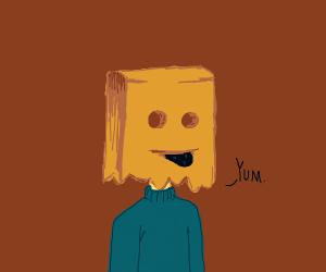 paper bag head man eats a subsuming void