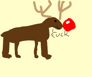 Rudolph the reindeer with really huge nose