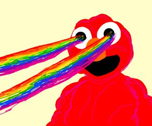 Elmo shooting rainbows from his eyes