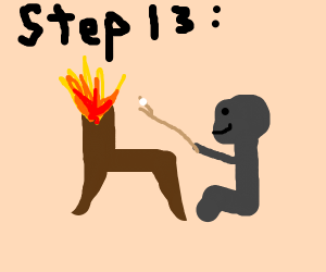 Step 12: light chair aflame