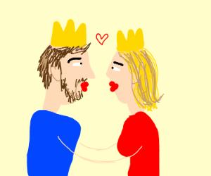 prince kissing princess
